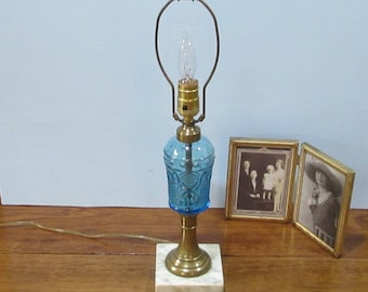 Blue Glass Table Lamp with Marble Base ~ Brass Accents ~ Clear Glass Finial ~ Table or Night Stand Lamp ~ Mid-Century Lamp