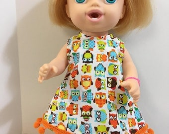 "BABY ALIVE 12 inch Doll Clothes, Adorable Colorful ""OWLS"" Dress with Trim, 12"" Doll Clothes, Baby Alive Clothes, Look ""Whoos"" Cute!"