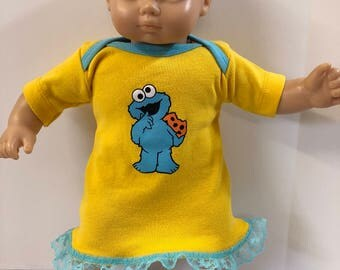 "15 inch Bitty Baby Clothes, Super Cute ""COOKIE MONSTER"" Dress, 15 inch AG Doll Bitty Baby or Twin Doll, I Love Sesame Street!"