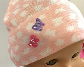 "15 inch Doll HAT, Cute Pink & White ""BUTTERFLY -Sparkling Butterfly Gems"", 15 inch Bitty Baby Hat, 15 inch Baby Doll Clothes, Doll Accessory"