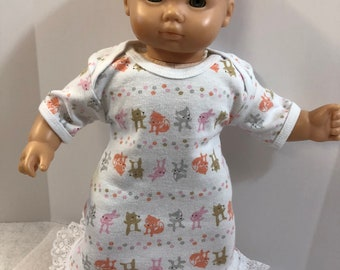 "15 inch Bitty Baby Clothes, Cute Little ""FOREST ANIMALS - Bunny, Bear, Fox & Raccoon"" Nightgown, 15 inch AG American Doll Bitty Baby"