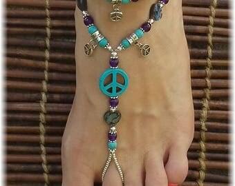Peace Symbol Foot Jewelry • Barefoot Sandals • Foot Jewelry • Footless Sandal • Beach Sandals • Boho Jewelry • Gypsy Jewelry • Hippie Jewels