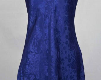 Vintage Women's Indigo Floral Print Chemise/Night Dress Size Medium