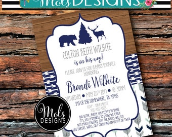 Any Color WOODSY Bear DEER Antlers BUCK Chevron Blue Grey Couples Shower Boy Modern Rustic Baby Sprinkle Wedding Shower Birthday Invitation