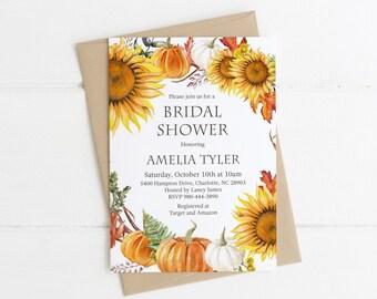 Fall Bridal Shower Invitation, Printable Wedding Shower Invite, Sunflowers, Pumpkins, Autumn Leaves, Fall Wedding, Floral Wreath