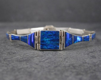 Vintage Mexican Sterling Black Opal Bracelet 7.25 Inches