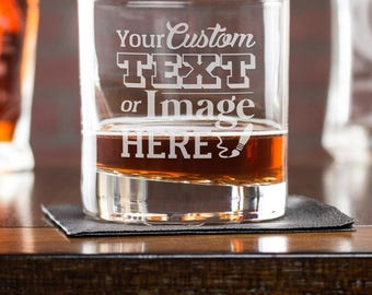 Custom Whiskey Glass, Personalized Gift, Whiskey Glass, Etched Cocktail Glass, Gift For Him, Scotch Glass, Corporate Gift, Bar Whiskey Glass