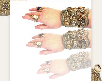 THE SHIELD BRACELET by Gilded-Mane : Leather & Lace Cuff in Bronze and Grey