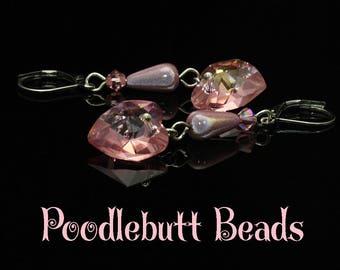 Valentine Heart Earrings Pink Swarovski Hypoallergenic Stainless Steel