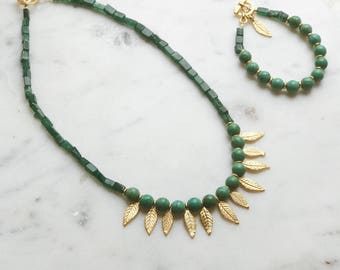 Turquoise necklace, Mint and gold necklace, Emerald green gems, Roman necklace, Ancient jewelry, Gold leaves