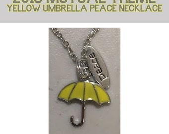 2018 Mutual Theme Yellow Umbrella Necklace with PEACE charm Peace in Me LDS young women