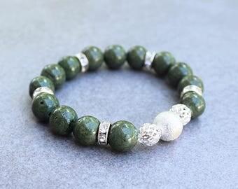 Green Bracelet, Green Stretchy Bracelet, Olive Green Bracelet, Green Bead Bracelet, Green Beaded Bracelet, Green Stretch Bracelet