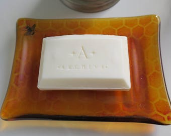 Fused Glass Bee and Honeycomb Patterned Soap Dish