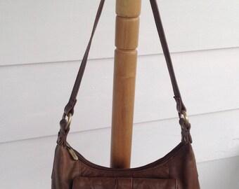 Vintage Gigi Brown Leather Hobo Handbag Purse