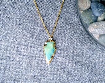 Arrowhead pendant etsy jasper arrowhead necklace natural stone arrowhead pendant various colours gold arrowhead necklace for aloadofball Image collections