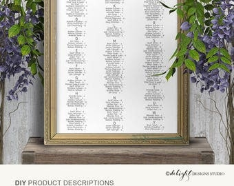 Seating chart template, Wedding seating chart, Printable, poster, seating plan, instant download, S2