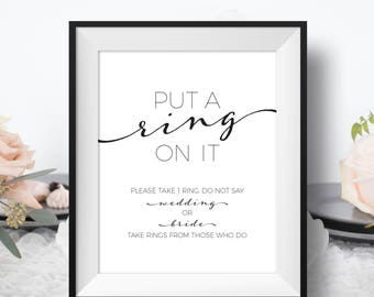 Put a Ring On It - Bridal Shower Ring Game - Put a Ring On It Game - Don't Say Game - Bridal Shower Games - Don't Say Wedding - Bling Game