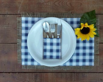 Gingham Placemats - Plaid Cutlery Holders - Plaid Tablemats and Cutlery Sleeves - Easter Placemats - Set of 12 Pieces - Choose Color