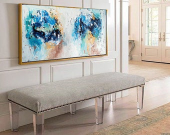 Hand Painted Large Wall Art Original Painting, Abstract Art, Acrylic Painting on Canvas, Large Canvas Art. Extra Large Painting Blue Decor