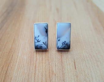 Merlinite Dendritic Opal 925 Sterling Silver Stud Earrings / Stone Earrings / Merlinite /  Rectangle Earrings / Natural Stone / Silver Studs