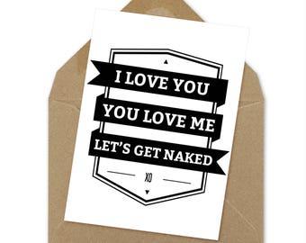 let's get naked printable card, love card, wedding card, adult printable card | A6