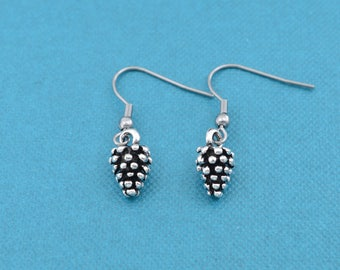 Pine cone earrings in silver pewter.  Pine cone earrings.  Nature earrings.  Hypoallergenic earrings.  Silver earrings.