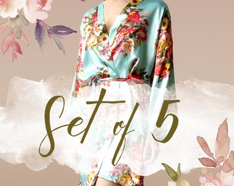 Bridesmaid robes set of 5, bridesmaid robes, Floral Satin Robe, Maid of Honor Robes