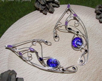 Purple Sun Elf Ears, violet ear jewelry for elf costume, fantasy jewelry with Swarovski crystals, elven ears for elf cosplay, elvish jewelry