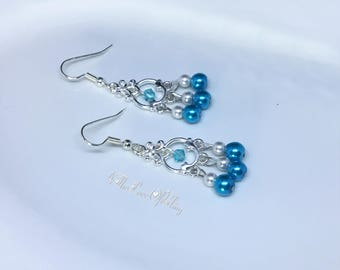 Petite Turquoise and White Pearls Chandelier Earrings in bright silver plated pewter featuring Swarovski Lt Turquoise Crystal