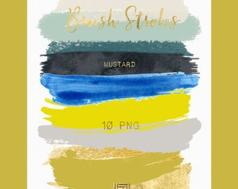 Brush Strokes Clip Art. Mustard. Mustard yellow, blue, aqua, deep blue, gold, palette. Watercolor clipart. Digital Design Resource
