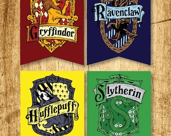 Harry Potter Printable Hogwarts House Crest Banners  |  Gryffindor, Slytherin, Hufflepuff & Ravenclaw  |  Digital Download  |  8.5x11""