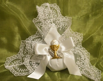 Doily bag  with Silver Chalice, Almond Favors, Bomboniere, 50th Wedding Anniversary, Italian favors, First Communion AF1520