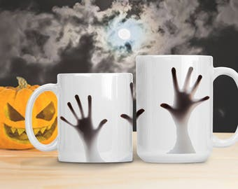 Zombie Hands Halloween Mug, Scary Halloween Cup, Zombie Dead Decor, Walking Dead Mug, College Dorm Decoration, Halloween Spooky Mug Cup