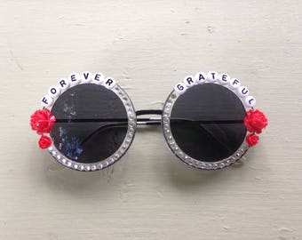Forever Grateful embellished sunglasses, decorated round sunnies inspired by the Grateful Dead