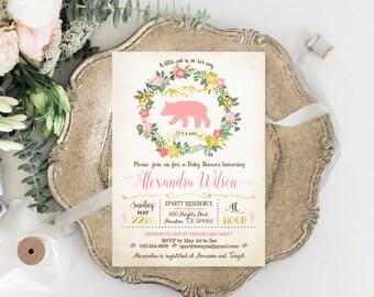 Gold Woodlands Shower Invite, vintage Girl shower Invitation, Bear girl Shower Invite, Rustic baby girl shower, cub girl invitation, CUB, GO