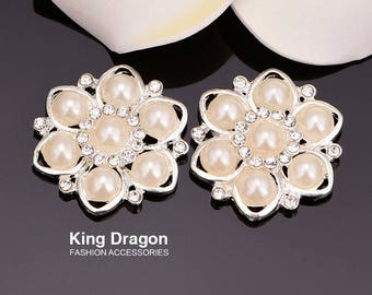 Rhinestone Pearl Embellishment Without Loop 30MM 20pcs/lot Flat Back Silver Color Used On Invitation Card