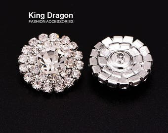 Clear Rhinestone Buttons Loop Back 20MM 20pcs/lot Silver Color Button Shop KD173