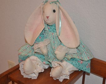 Easter Bunny Rabbit  Handcrafted Green Floral Outfit Smoke Free Home Collectible