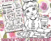 """Clear Stamp Set """"Eat Sleep Plan"""" - perfect to use in your Planners, Happymail, Cardmaking, Pocketletters etc. whimsical Illustration"""