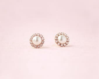 Halo Pearl Stud Earrings Rose Gold, Studs, Wedding Earrings, Bridal Earrings, Cluster Earrings, Pearl Earrings, Pearl Studs, Rose Gold Studs