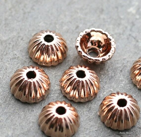 Bead Caps Rose Gold Bead Caps 8mm Bead Caps Dome Bead Caps Cone