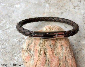 Leather Bracelet, Braided Bolo Leather With Stainless Steel Bayonet Clasp, 4 Colors, Custom Sizes, CS-3