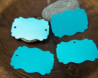 100 Turquoise Pearlised Rectangle Luxury Gift Tags, Notecards, Blank Tags, Wishing Tree Tags, Wedding Place Cards, Jam Label, Jewellery Tags