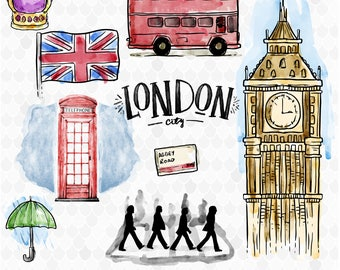 London Clipart, Watercolor Clipart, London Watercolor, Travel Clipart, London Graphics, British Clipart, Digital Clipart, Decal for Shops