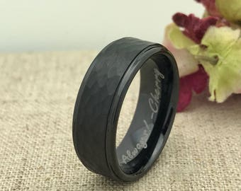 8mm Personalized Tungsten Ring, Coordinates Ring, Custom Promise Ring for Him, Custom Date Ring, Purity Ring,Family Name Ring,Groomsmen Ring