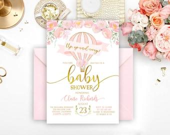 Hot Air Balloon Baby Shower Invitation, Hot Air Balloon Invitation, Girl Baby shower invitation pink and gold, Floral Baby Shower Invitation