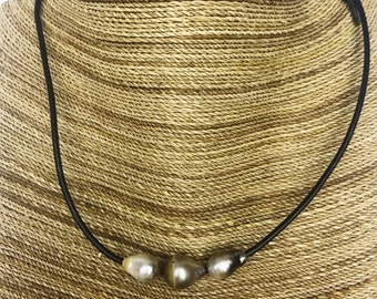3 Tahitian Pearls on Leather Necklace