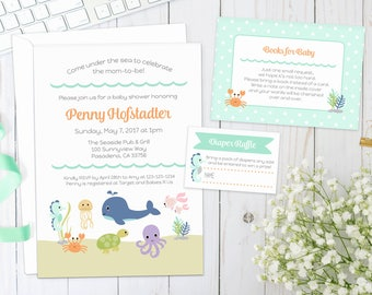 UNDER THE SEA Baby Shower Invite | Printed | Invitation with sea animals, turtle, seahorse, octopus, fish, crab, nautical | Gender Neutral
