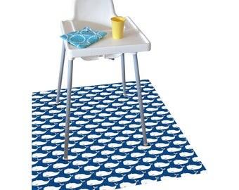 Highchair Mat / Splash Mat Whales print