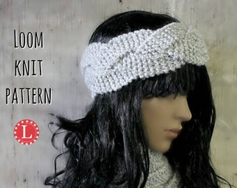 Loom Knitting Patterns Headband Ear Warmer, includes Video Tutorial.  All Knitting Looms with 15 pegs or more | Loomahat